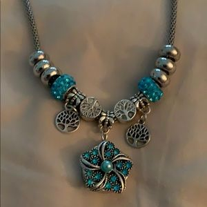 Aqua blue charm necklace